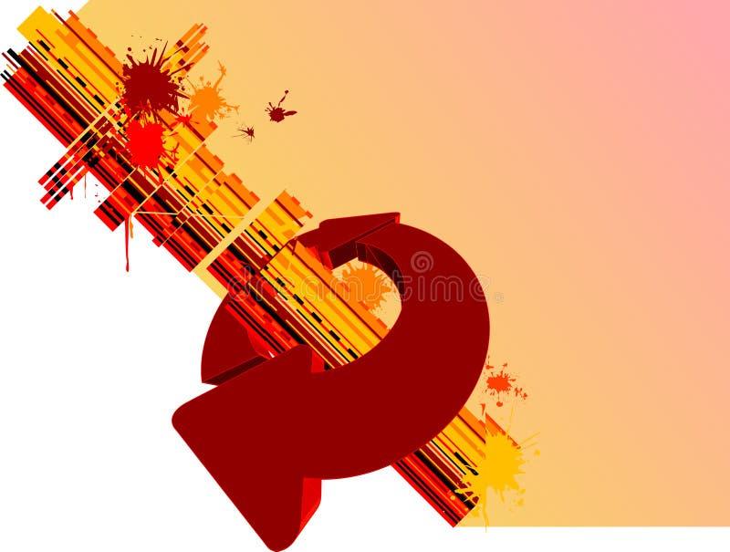 Setas amarelas do vermelho do fundo ilustração stock