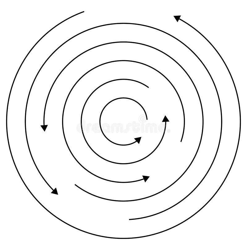 Setas circulares - círculos concêntricos aleatórios com as setas para twis ilustração do vetor