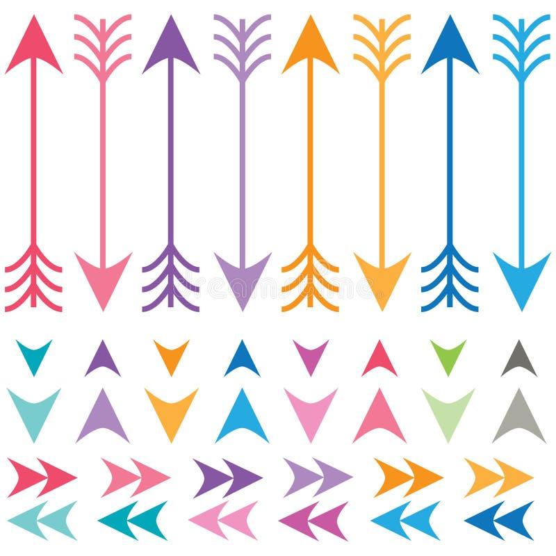 Setas coloridas ajustadas ilustração stock