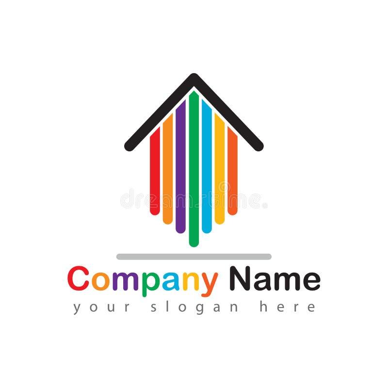 Setas coloridas do logotipo da casa dos bens imobiliários ilustração stock