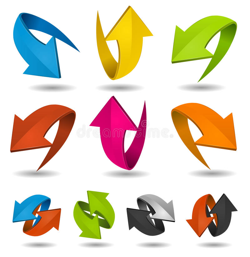 Setas coloridas do movimento ajustadas ilustração do vetor