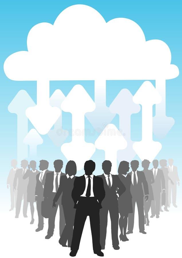 Setas conecta executivos da computação da nuvem ilustração stock