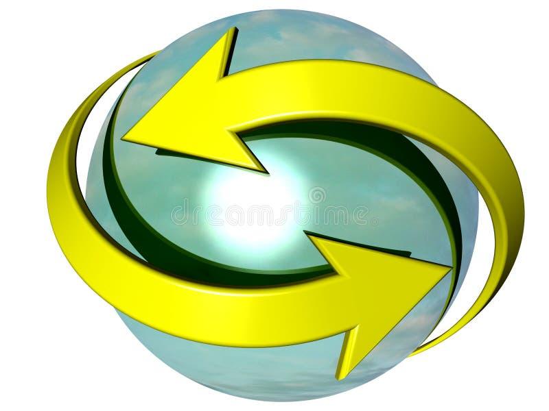 Setas curvadas que giram em torno de uma esfera ilustração stock