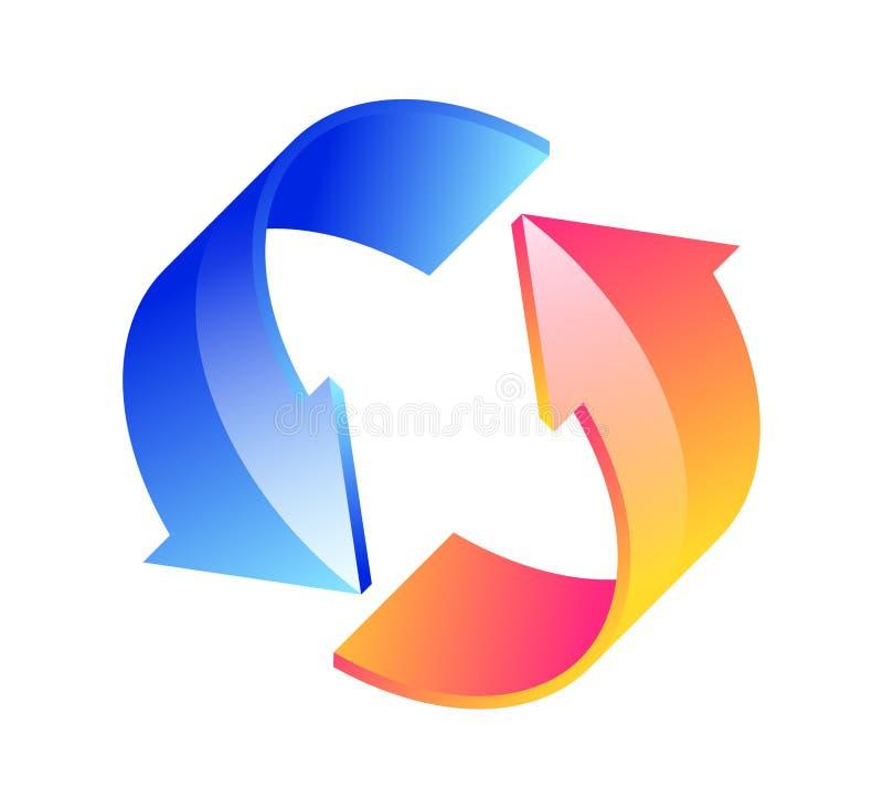 setas 3D circulares em um fundo branco ilustração stock