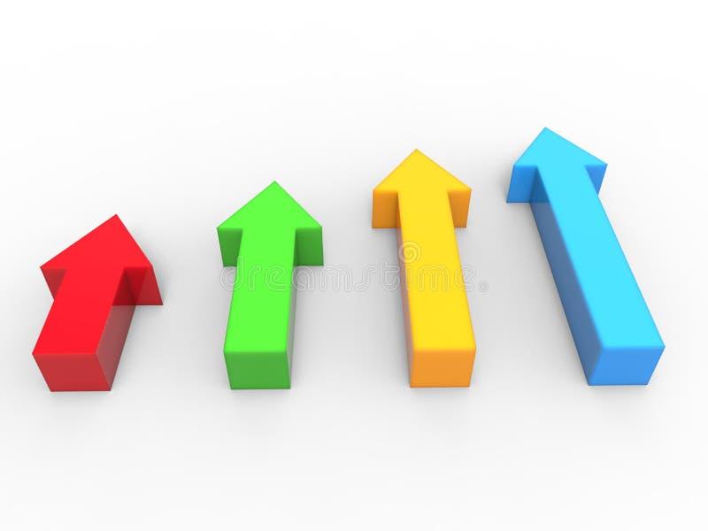 setas 3D em apontar vermelho, verde, azul e amarelo acima ilustração stock