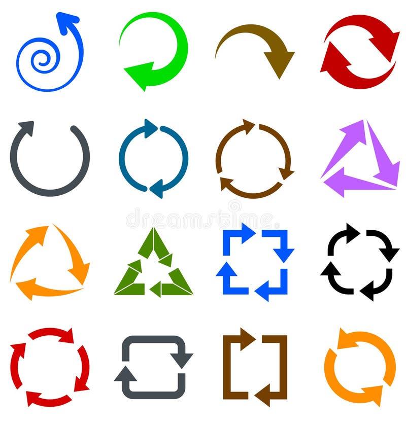 Setas da cor da circulação ilustração stock