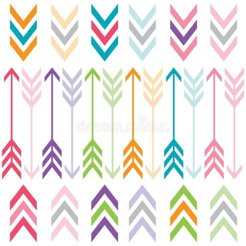 Setas da cor do arco-íris ajustadas ilustração do vetor