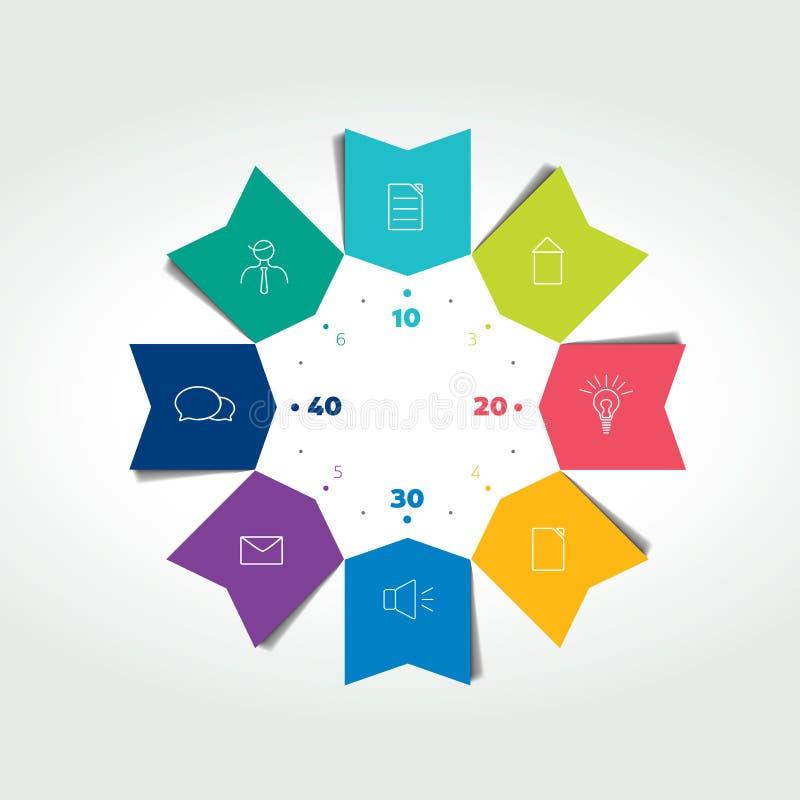 setas da cor do círculo de negócio 3D infographic A carta pode ser usada para a apresentação, opções do número, disposição dos tr ilustração do vetor