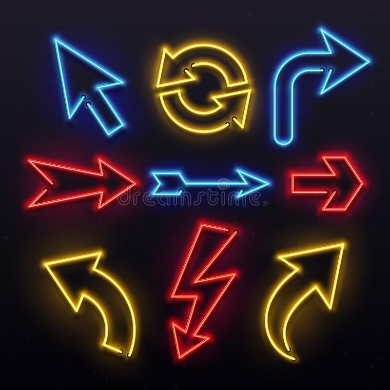Setas da luz de néon O bulbo colorido alinha a seta O tubo da vida noturno ilumina ponteiros da seta Grupo vívido do vetor das lâ ilustração do vetor
