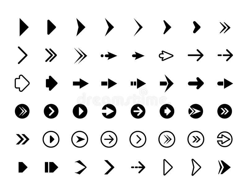 Setas da Web Símbolos para ícones do infographics do vetor dos botões dos sinais das setas do sentido do Web site ilustração stock