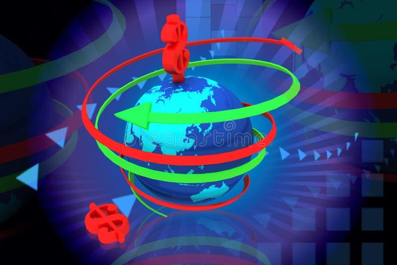 Setas de giro do globo e do dólar ilustração royalty free
