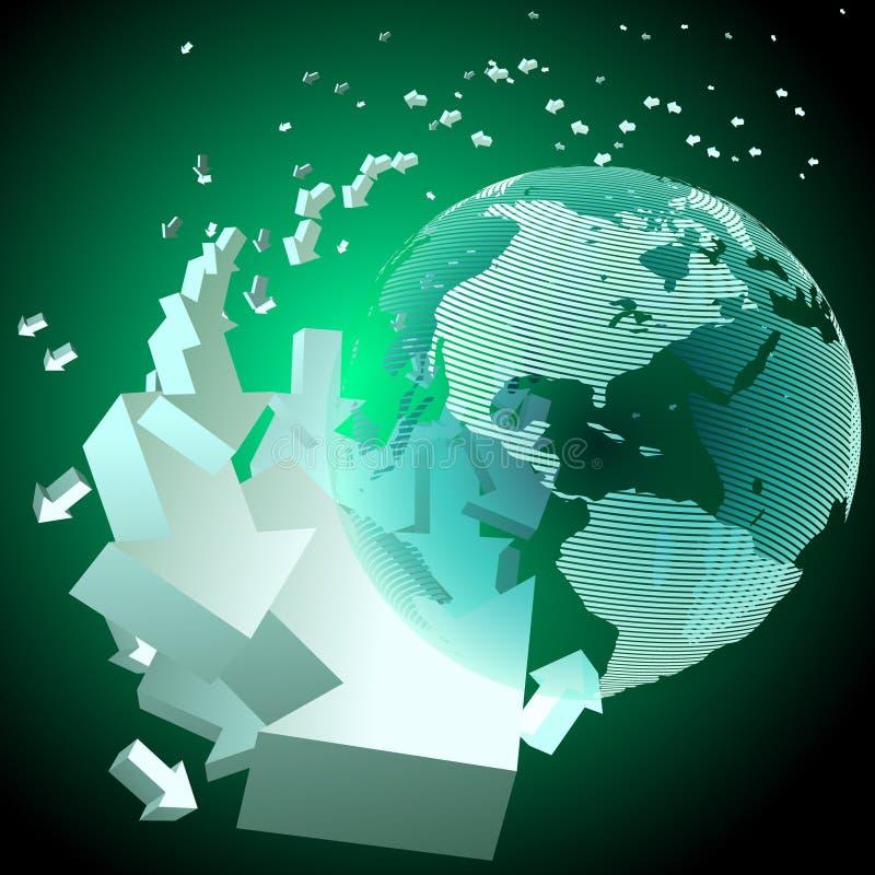 Setas de giro em torno do globo ilustração do vetor