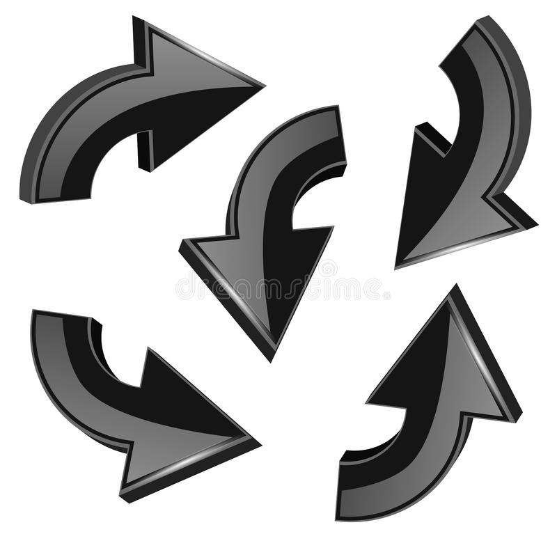 Setas de giro pretas ícones 3d brilhantes ajustados ilustração royalty free