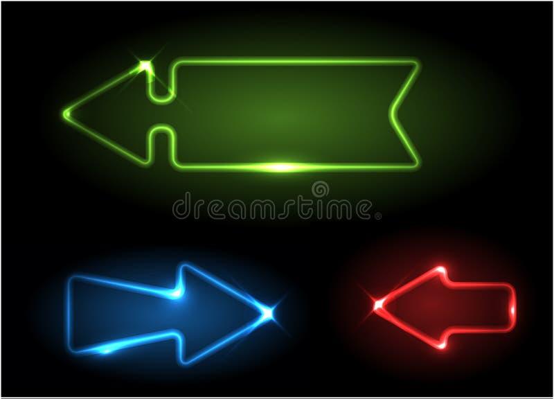 Setas de néon verdes, azuis e vermelhas ilustração royalty free
