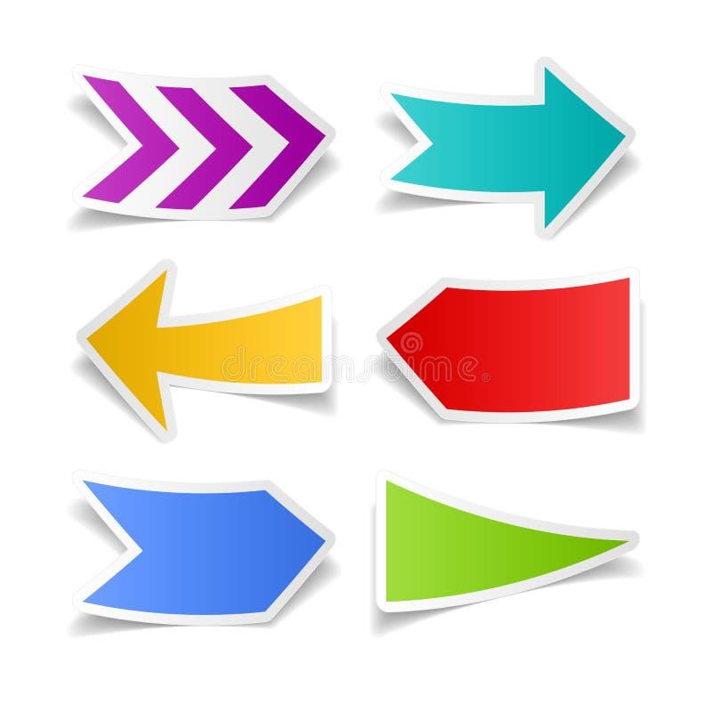 Setas de papel ajustadas ilustração do vetor