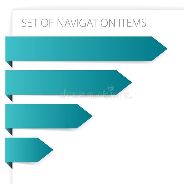 Setas de papel - artigos modernos da navegação ilustração do vetor