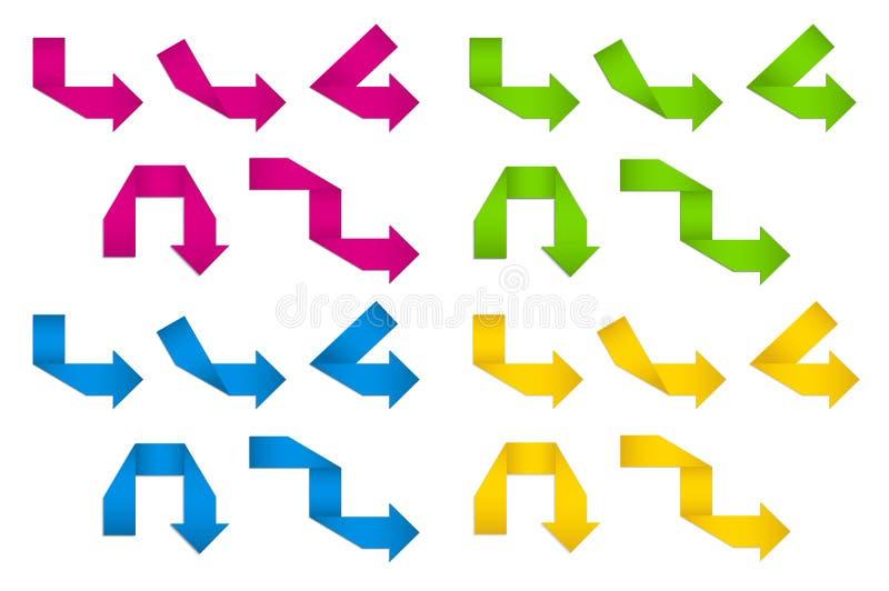 Download Setas de papel dobradas ilustração do vetor. Ilustração de colorido - 26523025