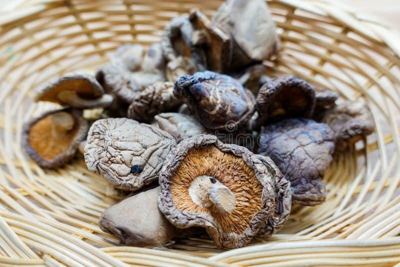Setas de shiitake secadas en cesta imágenes de archivo libres de regalías