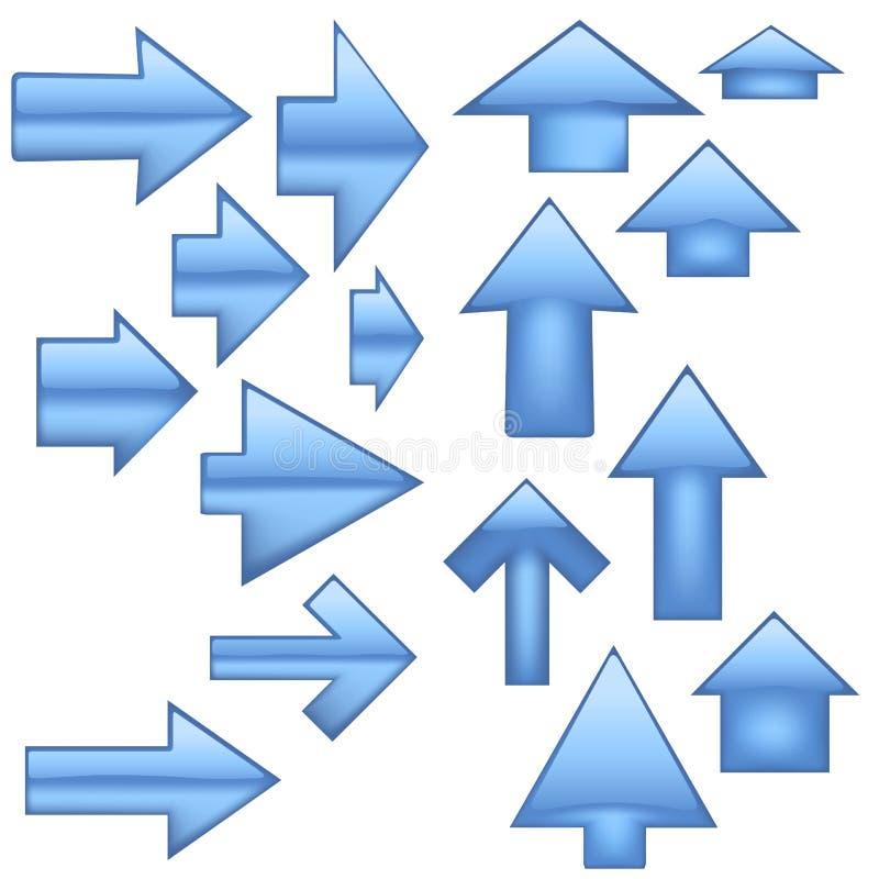 Setas de vidro - azul ilustração stock