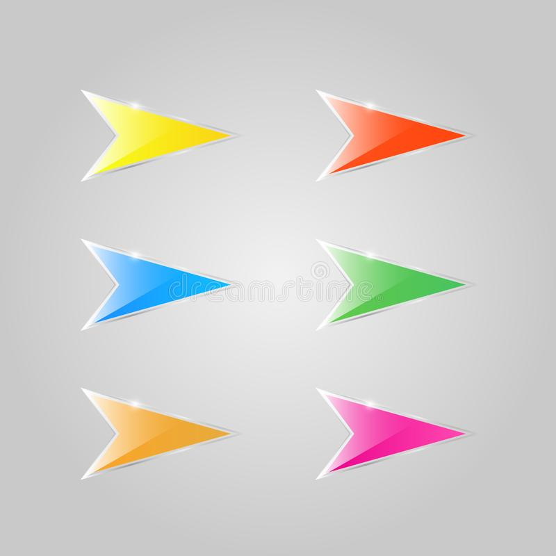 Setas de vidro coloridas em um fundo cinzento ilustração stock