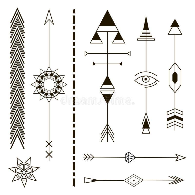 Setas decorativas Elementos do projeto geométrico ilustração do vetor