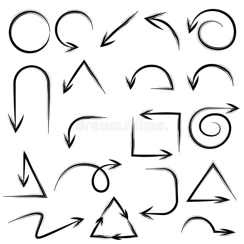 Setas desenhadas mão ilustração stock