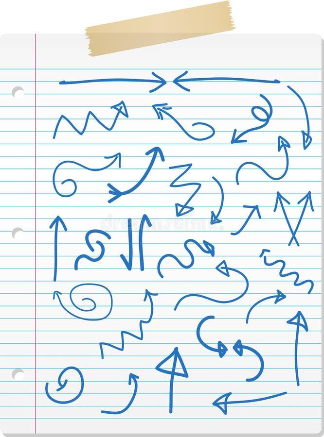 Setas desenhadas mão no papel alinhado ilustração royalty free