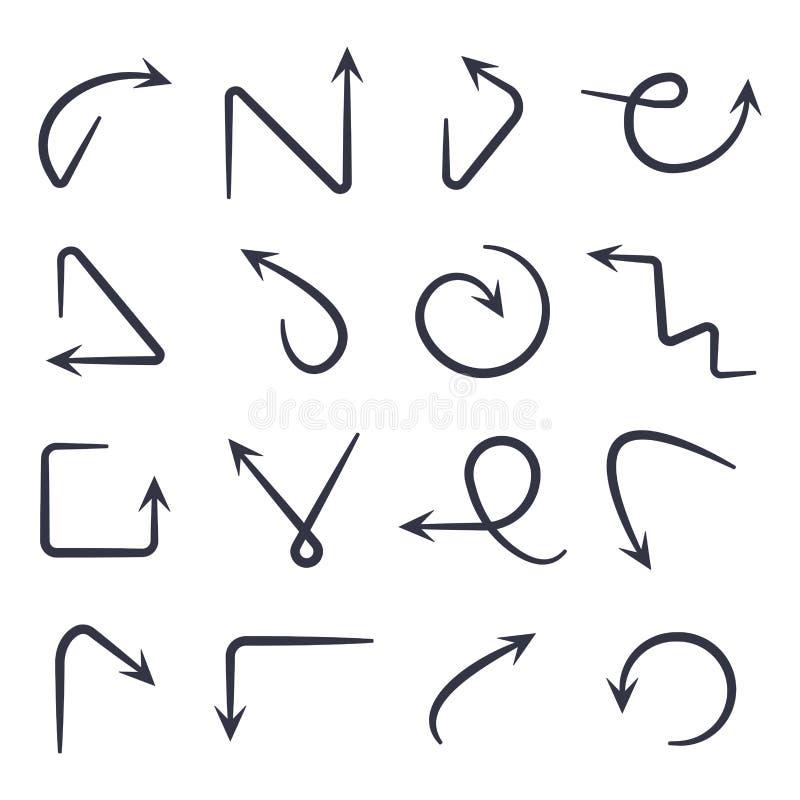 Setas desenhadas m?o ajustadas Eps 10 ilustração do vetor