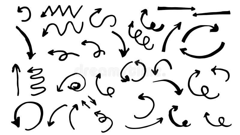 Setas desenhados à mão ilustração stock