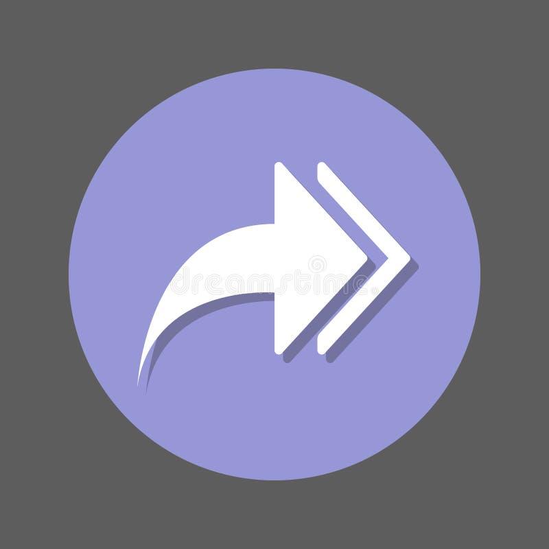 Setas direitas, ícone liso dianteiro Botão colorido redondo, sinal circular do vetor com efeito de sombra Projeto liso do estilo ilustração stock