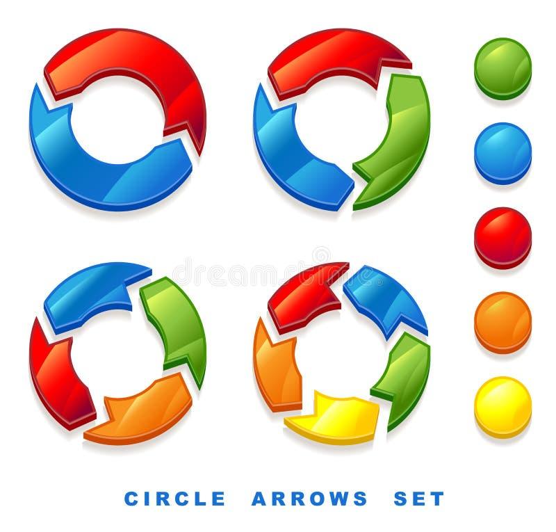 Setas do círculo ajustadas. ilustração do vetor