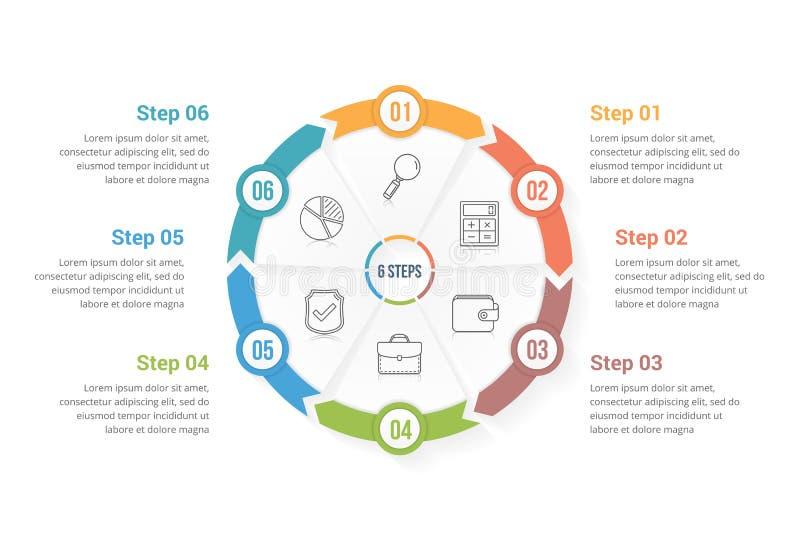 Setas do círculo com seis elementos ilustração do vetor