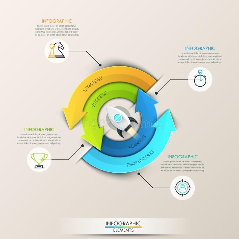 Setas do círculo do vetor infographic para o conceito startup ilustração stock