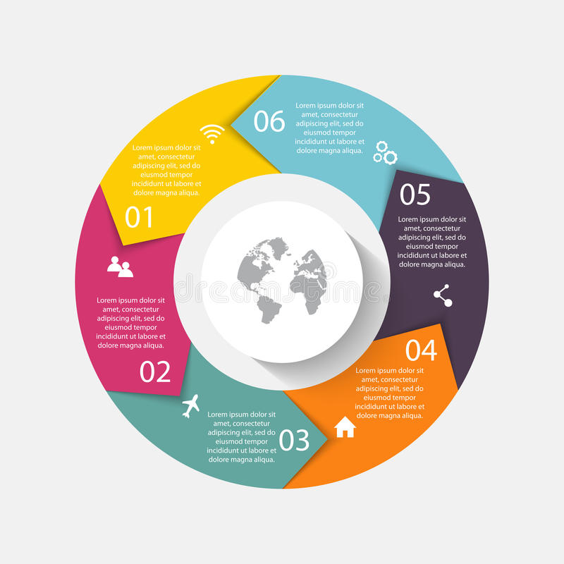 Setas do círculo do vetor para infographic Pode ser usado para o graphi da informação ilustração royalty free