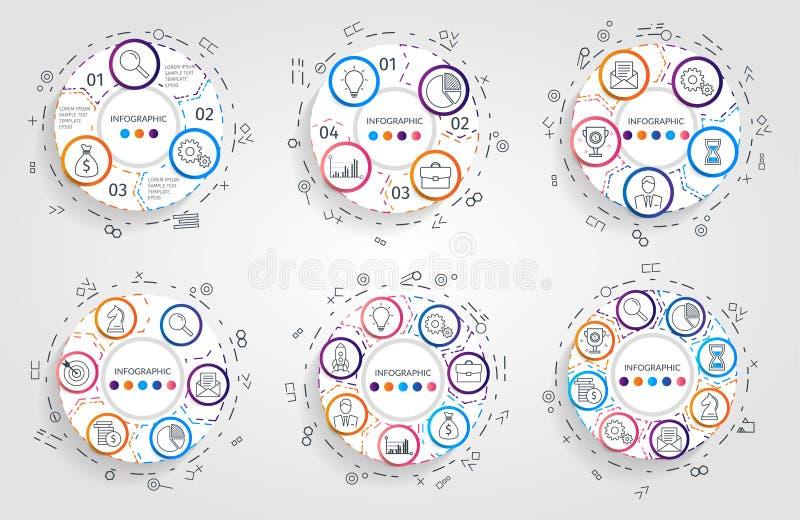 Setas do círculo infographic Conceito do negócio com 3 4 5 6 7 8 opções, porções, etapas ou processos Gráfico de setores circular ilustração stock