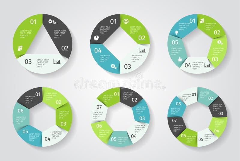 Setas do círculo infographic Molde do vetor no estilo de papel ilustração stock