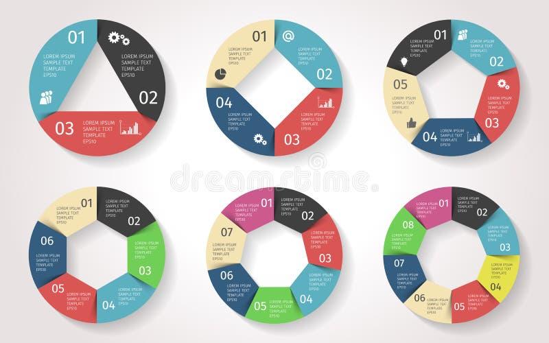 Setas do círculo infographic Molde do vetor no estilo de papel ilustração do vetor
