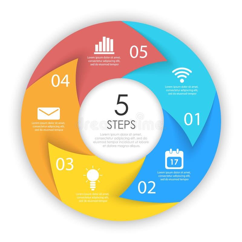 Setas do c?rculo para infographic Conceito do neg?cio com 5 op??es, etapas ou processos ilustração royalty free