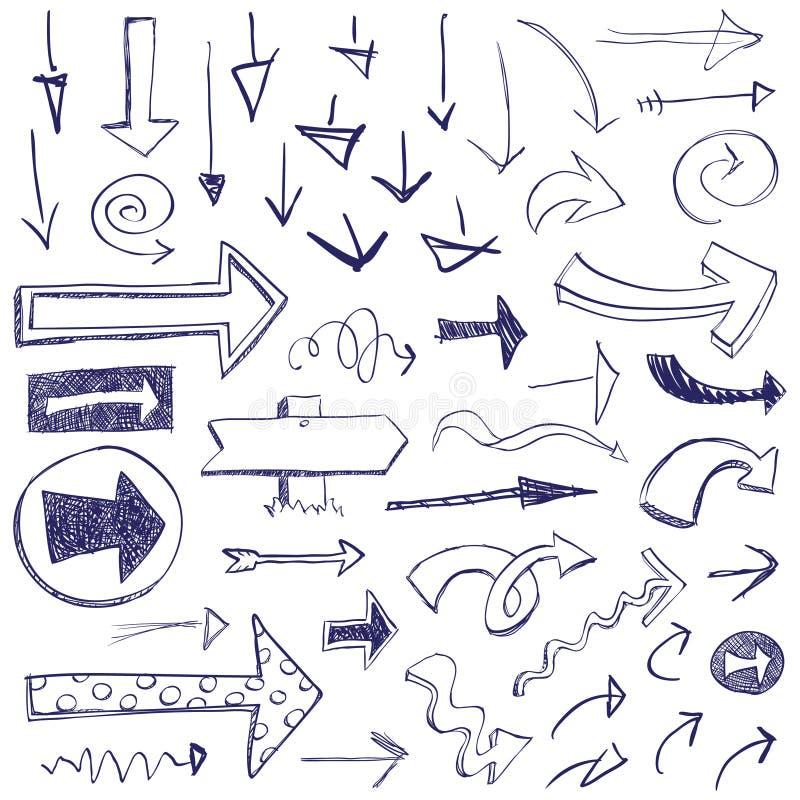 Setas do Doodle ilustração stock