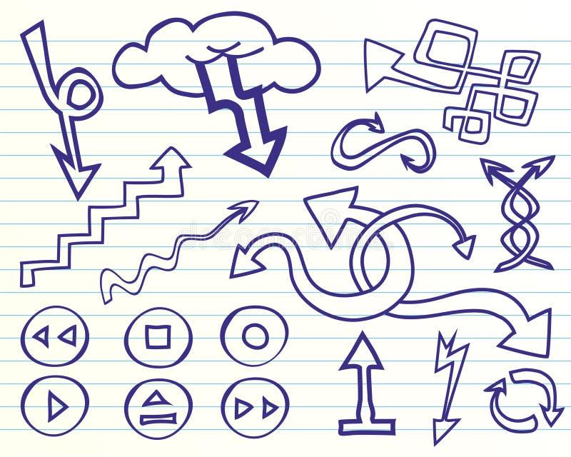 Setas do Doodle ajustadas ilustração do vetor