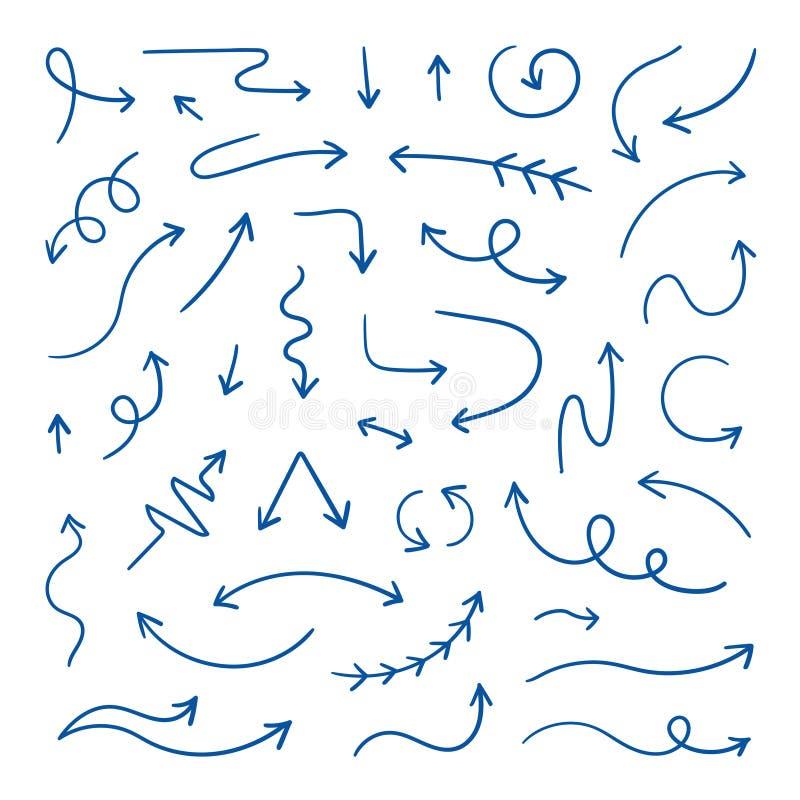 Setas do Doodle Mão linear setas tiradas do sentido, elementos do projeto do esboço da pena Linha de laço ondulada setas garatuja ilustração do vetor