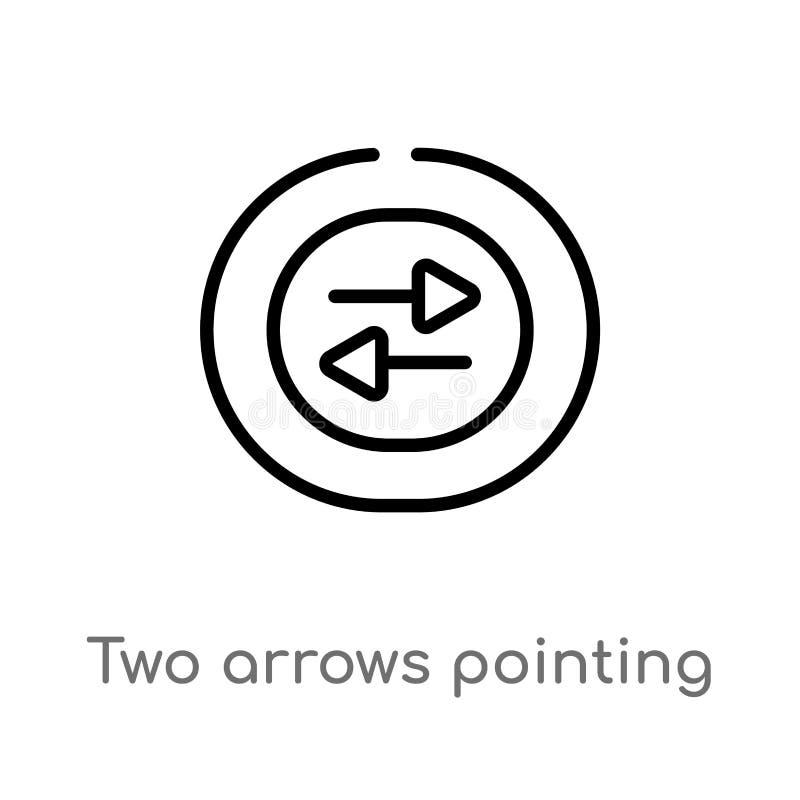 setas do esboço dois que apontam o ícone direito e esquerdo do vetor linha simples preta isolada ilustra??o do elemento da interf ilustração royalty free