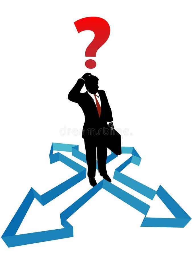 Setas do sentido da indecisão do homem de negócios da pergunta ilustração stock