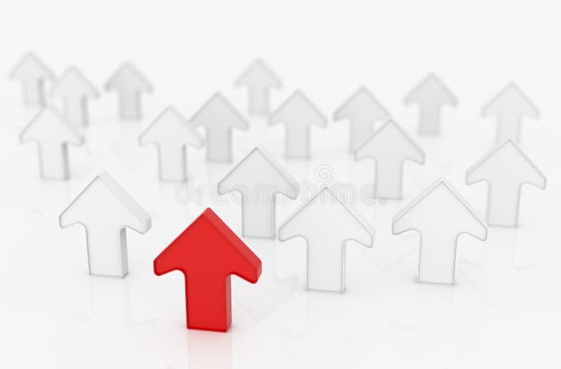 Setas do sentido no conceito do negócio da liderança, ilustração 3d ilustração stock