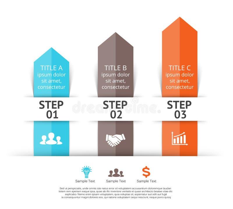 Setas do vetor infographic 3 etapas ao sucesso ilustração do vetor