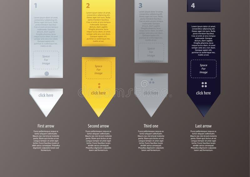 Setas do vetor no projeto minimalistic, moderno. Muito espaço para você ilustração stock