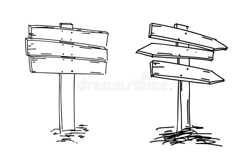 Setas dobro Esboço desenhado mão Ilustração do vetor Sinal de sentido Esboço da garatuja de indicadores de madeira ponteiro achad ilustração stock