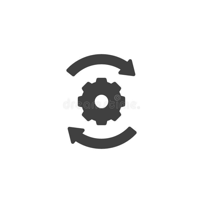 Setas e ícone do vetor das engrenagens ilustração stock