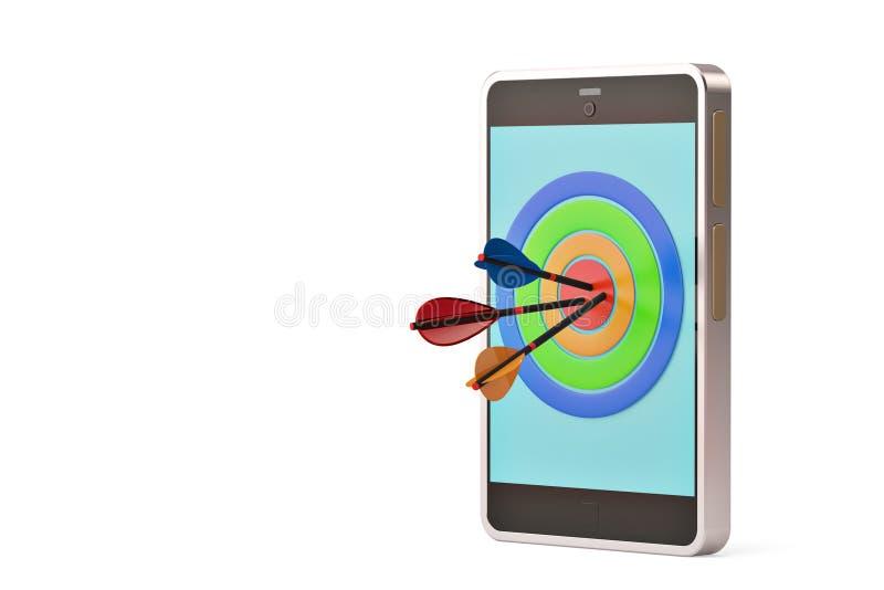 Setas e alvo no telefone celular ilustração 3D ilustração stock