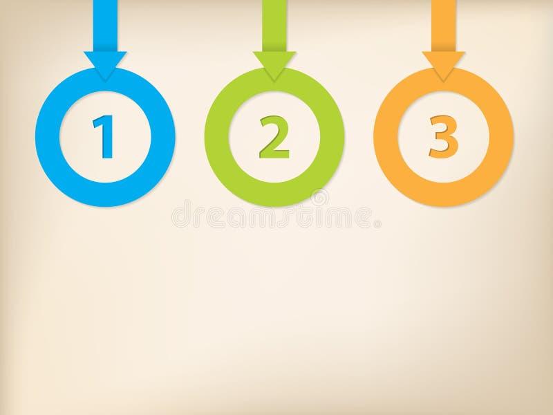 Setas e círculos infographic com lugar para o texto ilustração stock
